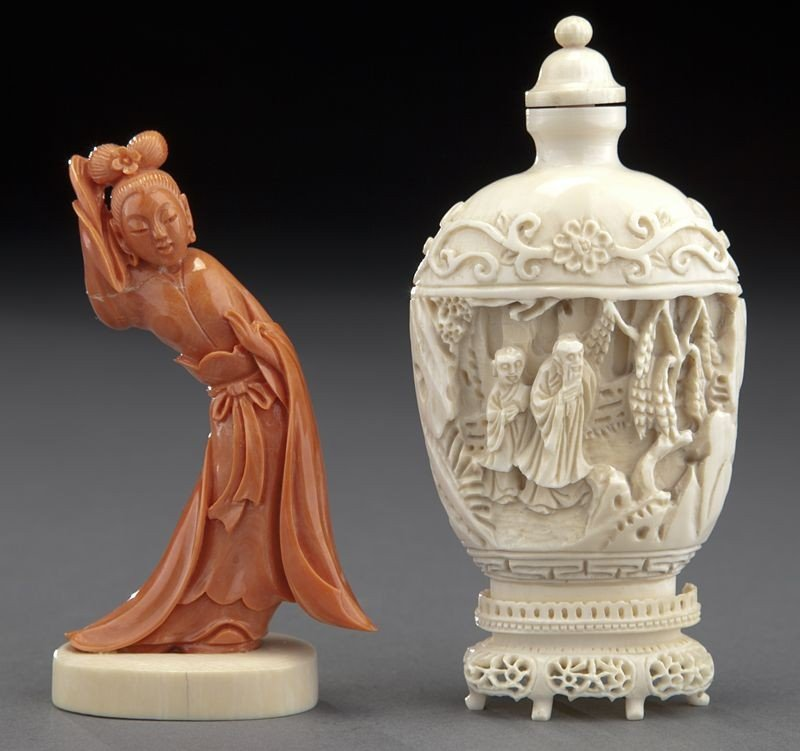 10: (2) Chinese carvings: (1) coral figure, (1) ivory