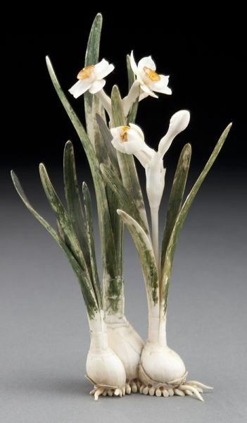 24: Japanese Meiji carved polychrome ivory hyacinth.