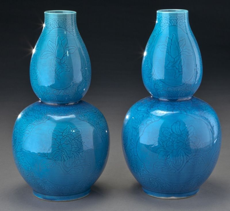 51: Pr. Chinese Qing peacock blue double gourd vases