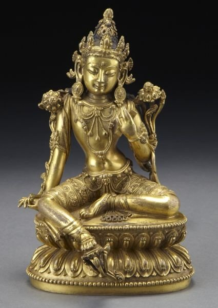 261: Chinese Xuande Imperial gilt bronze Green Tara,