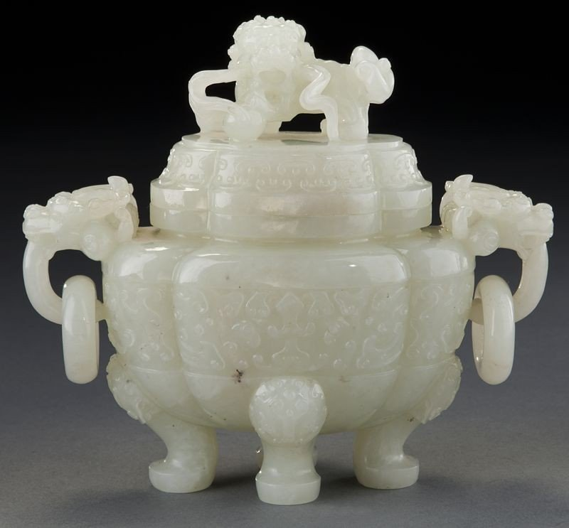 268: Chinese carved white jade incense burner - 2