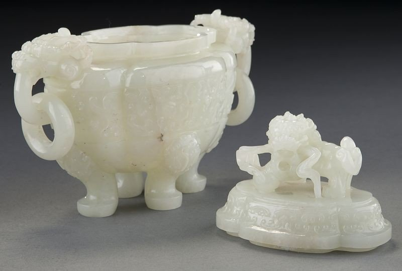 268: Chinese carved white jade incense burner - 6