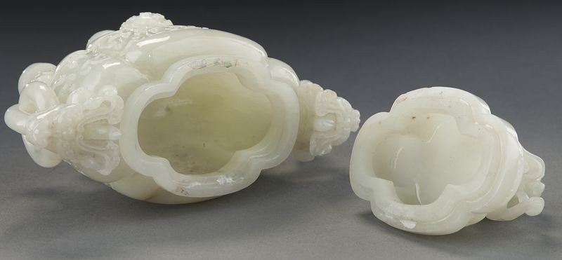 268: Chinese carved white jade incense burner - 7