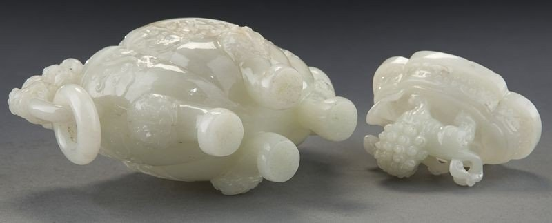 268: Chinese carved white jade incense burner - 8