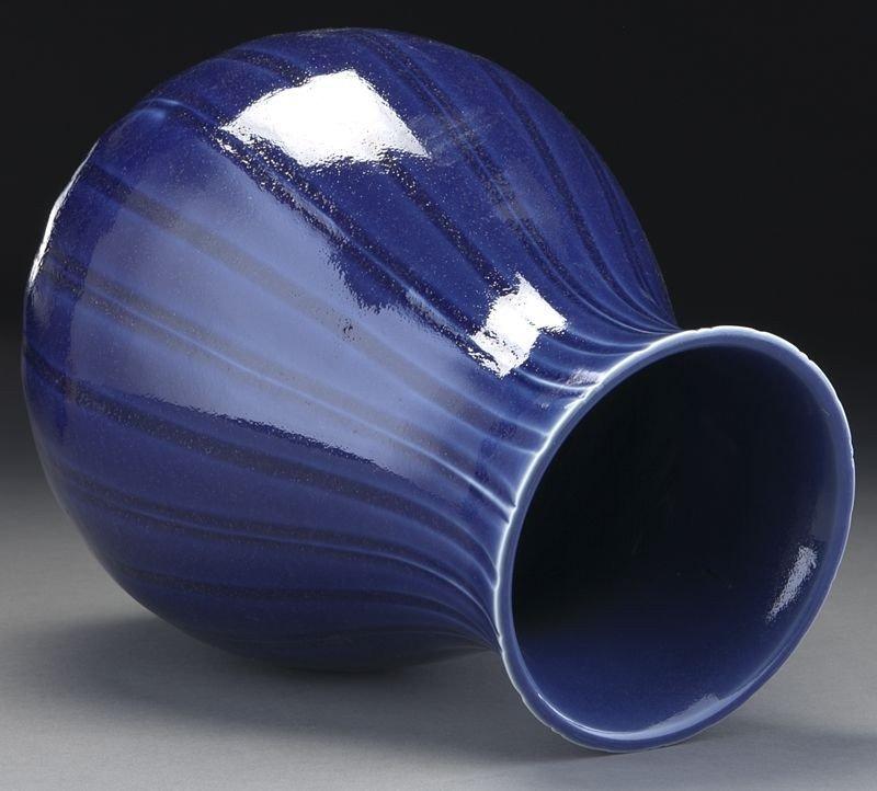 348: Chinese Qing peacock blue Zun vase. - 4