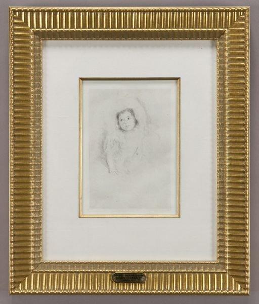 """2: Mary Cassatt, """"Margot Wearing a Bonnet"""" drypoint"""