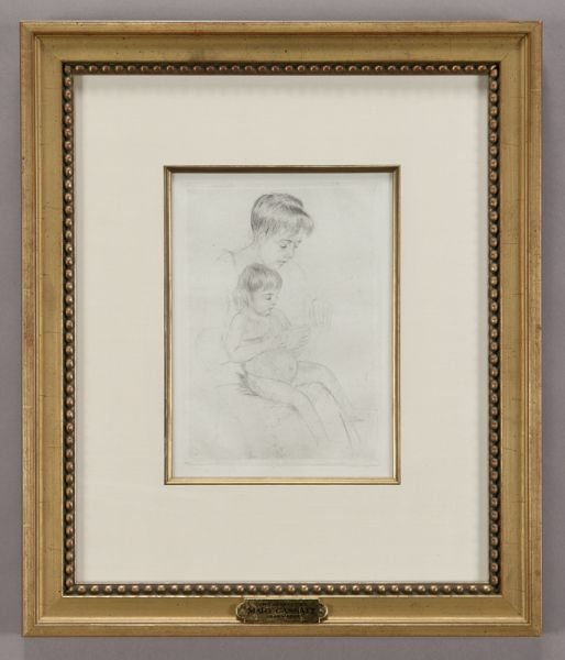 "3: Mary Cassatt, ""The Manicure"" drypoint on laid"