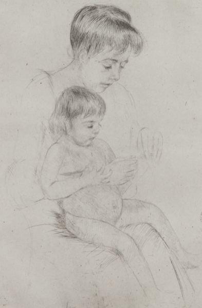 "3: Mary Cassatt, ""The Manicure"" drypoint on laid - 3"