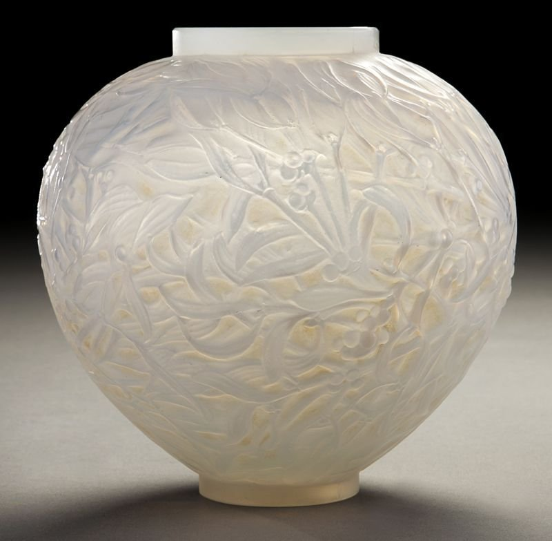 """6: R. Lalique """"Gui"""" opalescent glass vase with brown"""