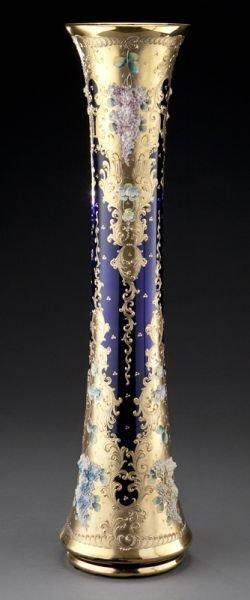 7: Monumental Bohemian cobalt glass vase