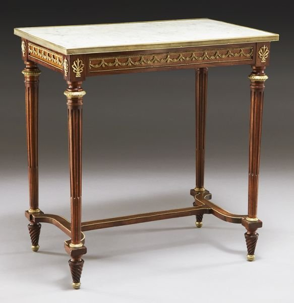 Louis XVI style marble top side table
