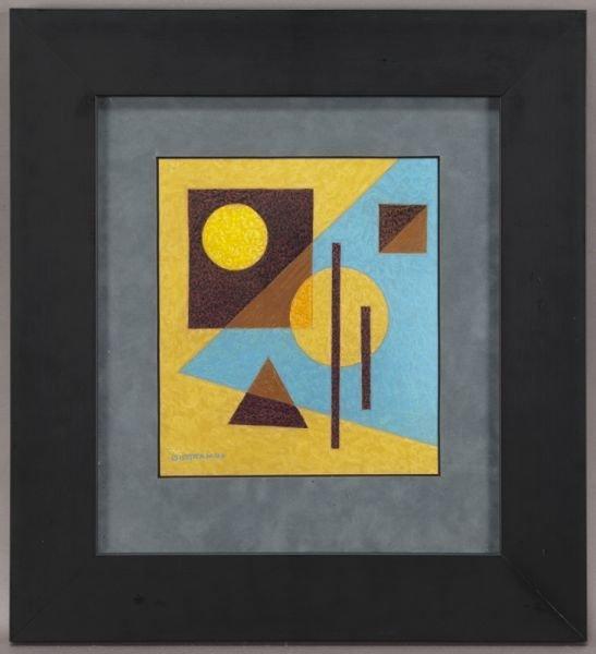 """12: Emil Bisttram, """"Untitled"""" encaustic on paper."""