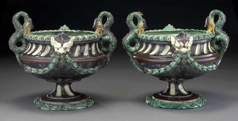 14: Pr. French majolica campana form urns,