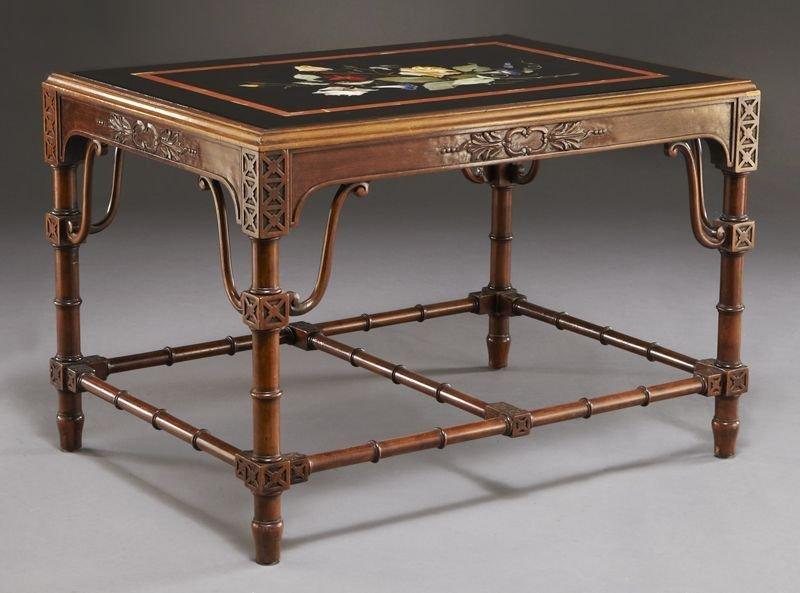 15: Pietra dura and mahogany table,
