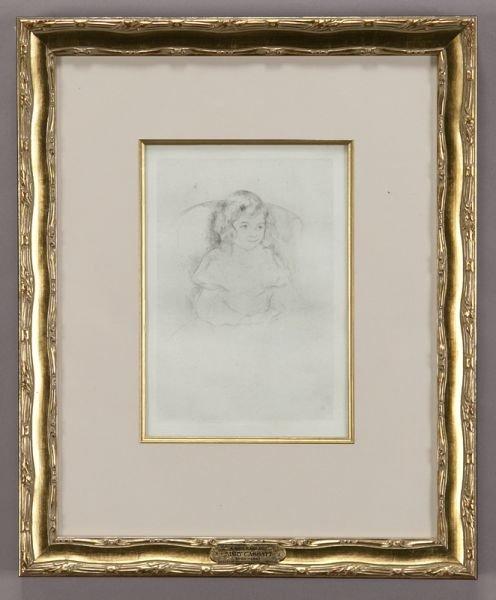 "17: Mary Cassatt, ""Sarah Smiling"" drypoint on laid"