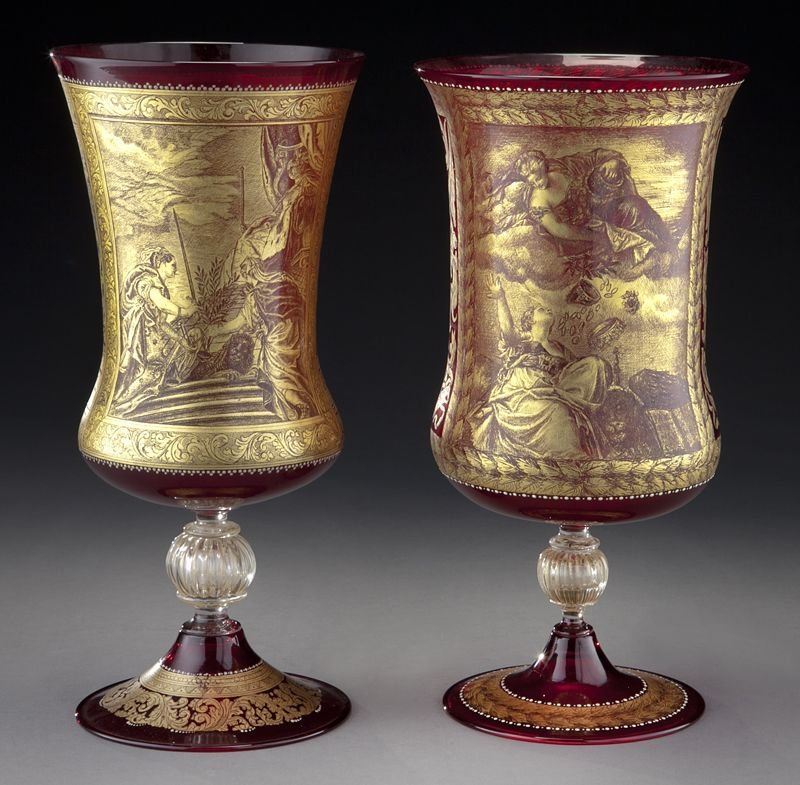 19: (2) Venetian gilt cranberry glass vases,
