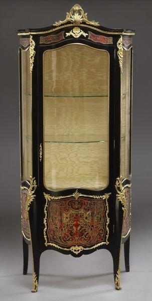 20: Napoleon III ebonized and boulle inlaid vitrine,
