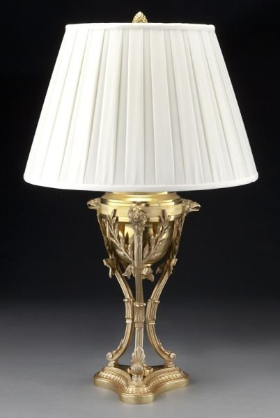 53: Empire style gilt bronze cassolette form lamp