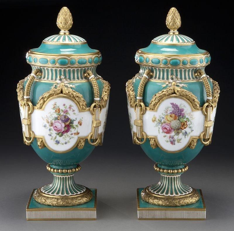 56: Pr. Minton porcelain lidded vases
