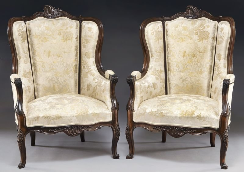 61: Pr. Louis XV style walnut fauteuil chairs,