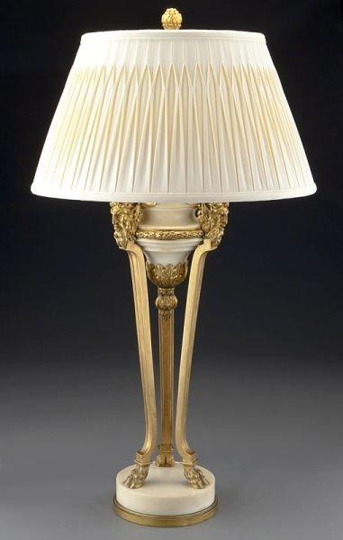 64: Louis XVI style bronze and Carrara marble lamp,
