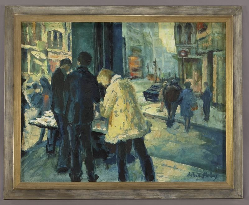 """65: Sylvia Molloy, """"Street Scene"""" oil painting on"""