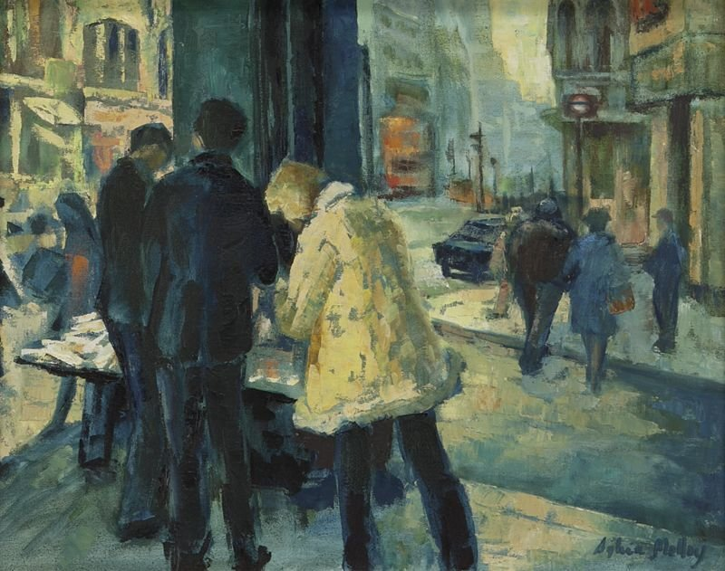 """65: Sylvia Molloy, """"Street Scene"""" oil painting on - 2"""