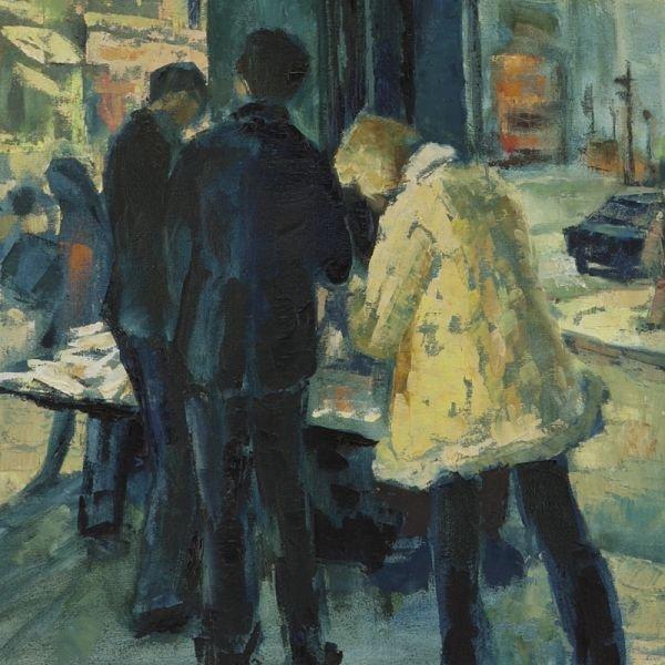 """65: Sylvia Molloy, """"Street Scene"""" oil painting on - 3"""