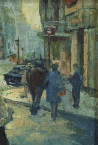 """65: Sylvia Molloy, """"Street Scene"""" oil painting on - 4"""