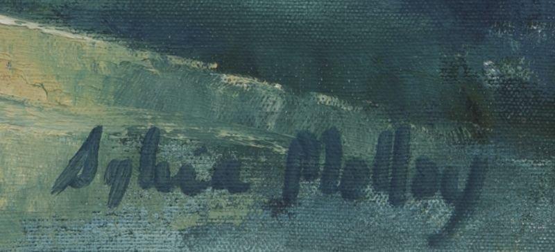 """65: Sylvia Molloy, """"Street Scene"""" oil painting on - 5"""