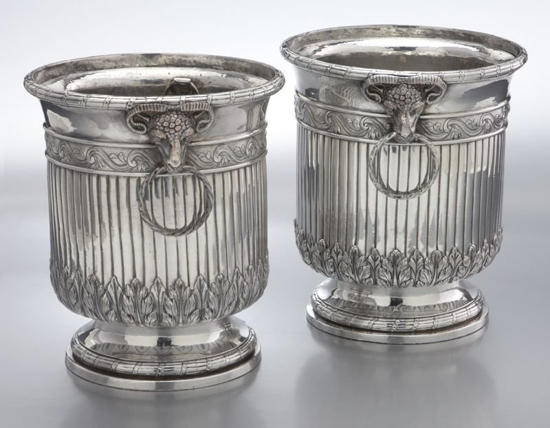 68: Pr. Old Sheffield plate wine coolers of urn form
