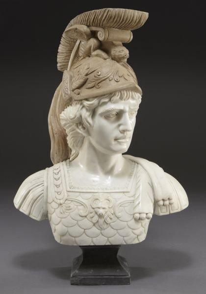 72: Marble portrait bust of Roman soldier.