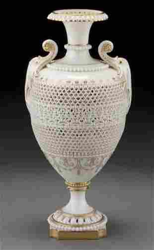 74: Royal Worcester reticulated vase by George Owen,