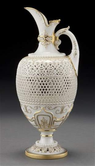88: Royal Worcester reticulated ewer by George Owen,