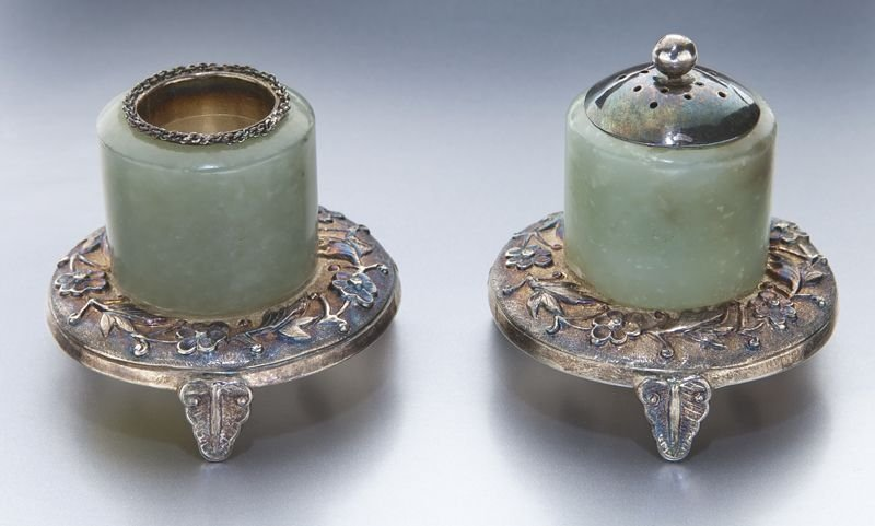 16: Pr. Chinese Qing jade archer's rings,