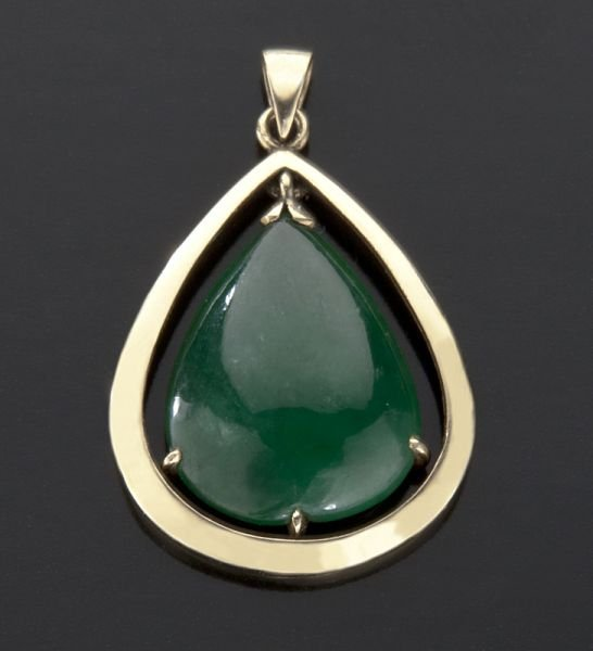 19: Chinese 14K gold mounted jadeite pendant.