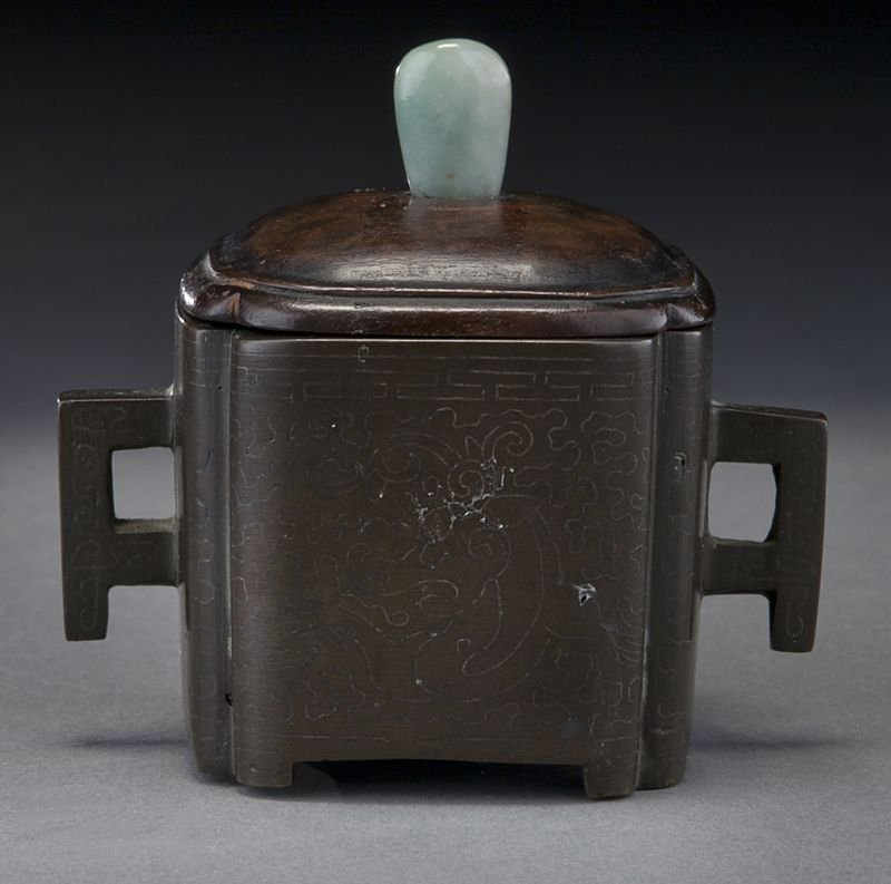 107: Chinese Qing silver inlaid bronze censer