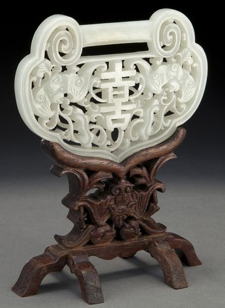 1: Chinese Qing carved jade lock,
