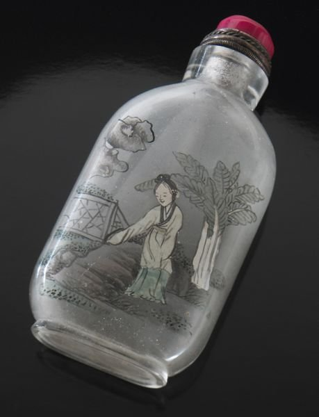 7: LeSan Chinese Qing reverse painted snuff bottle