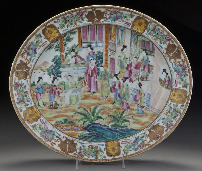 8: Chinese Qing Rose Canton fish plate