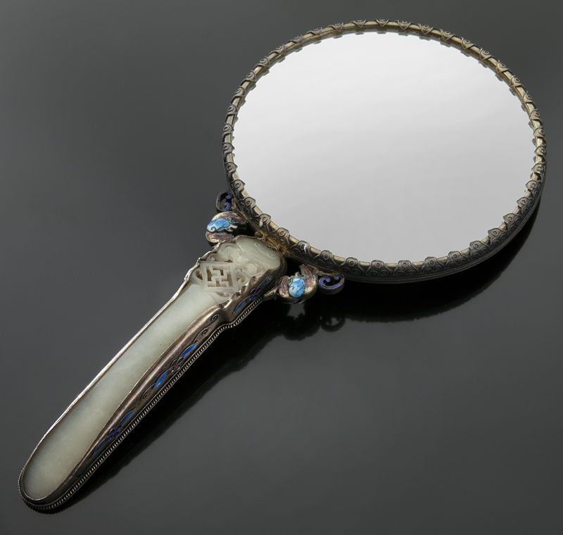15: Chinese jade mounted enamel over silver mirror,