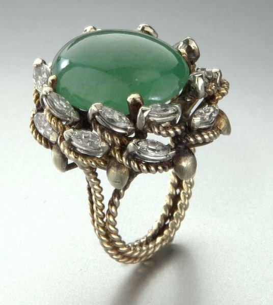 17: 14K gold, diamond and jadeite jade ring
