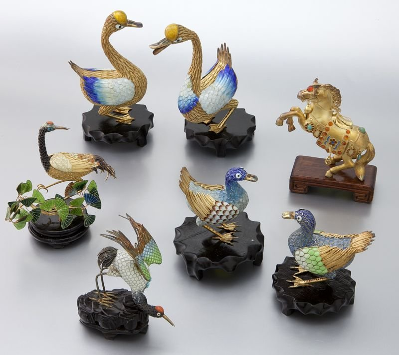 19: 7 Pcs. Chinese enamel over silver animals incl: