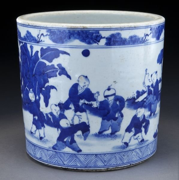 20: Chinese Qing blue and white porcelain brush pot
