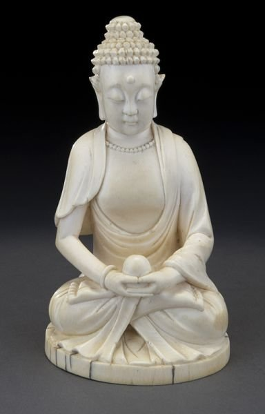 23: Chinese Qing carved ivory Buddha,