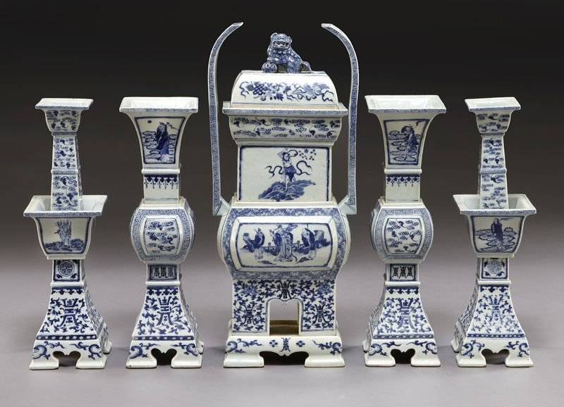 111: (5) Chinese Qing blue and white altar pieces incl: