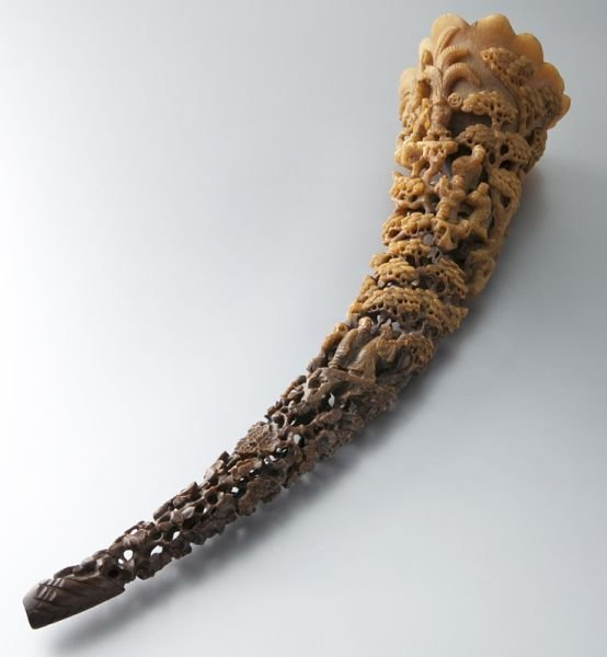 164: Large 19th C. Rhinoceros horn carving,
