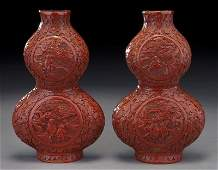 269 Pr Chinese Qing carved cinnabar double gourd