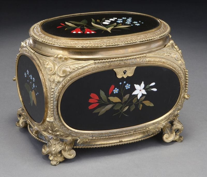1: French gilt bronze and pietra dura box,