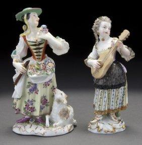 2: Pr. Meissen porcelain figures of ladies,